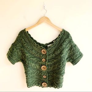 Anthropologie Cable Knit Button Cardigan